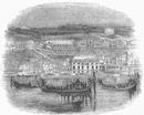 LONDON: Whitehall and Royal Regatta, antique print, 1845